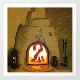 Kiva Fireplace Full On Art Print