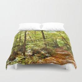 Sunlit Forest in Autumn Duvet Cover