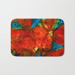 Garden Spirits - Vibrant Red Poppies Flowers By Sharon Cummings Bath Mat