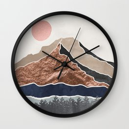 Mount Hood // Daylight Art Print Oregon Stratovolcano Rose Gold Silver Blue Cream Black Mountain Wall Clock