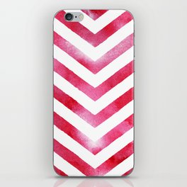 Watercolor Chevro, Red Chevron Striped Watercolor, Home And Accessories iPhone Skin