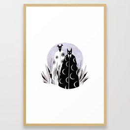 Moon Cat and Sun Dog Framed Art Print