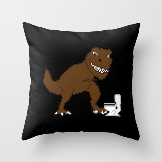 Jurassic Pixel Throw Pillow