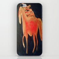 patriots iPhone & iPod Skins featuring Red Navy Blue and Silver Acrylic Horse Painting by Melissa's Art
