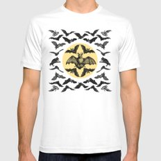 Bats Pattern MEDIUM White Mens Fitted Tee