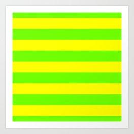 Bright Neon Green and Yellow Horizontal Cabana Tent Stripes Art Print