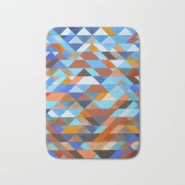 Triangle Pattern no.18 blue and orange Bath Mat