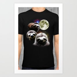 Funny Space Sloths Art Print