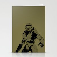master chief Stationery Cards featuring Master Chief by Anthony Bellus