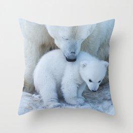 Polar Bear Mother and Cub portrait. Throw Pillow