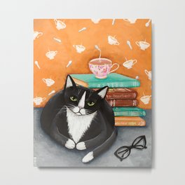 Cats, Tea, and Books Metal Print
