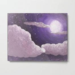 Purple Full Moon and Clouds Metal Print