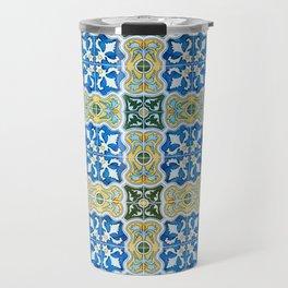 Seamless Floral Pattern Ornamental Tile Design : 6  blue, yellow Travel Mug
