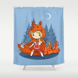Red Hood Wolf Shower Curtain