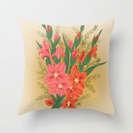 Bouquet of pink and red gladioluses Throw Pillow