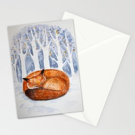 Wintery scene with a sleeping fox Stationery Cards