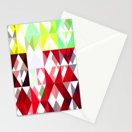 Mixed Color Poinsettias 2 Abstract Triangles 1 Stationery Cards