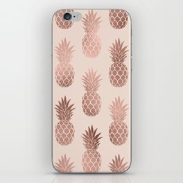 Girly Tropical Rose Gold Summer Pineapples Pattern iPhone Skin