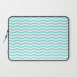 Classic Aqua and White Chevron Wave Wavy ZigZag Stripes Laptop Sleeve