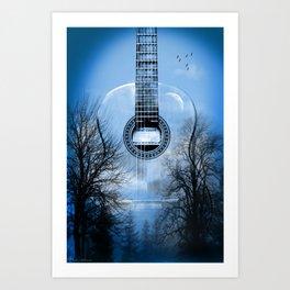 music blue  Art Print