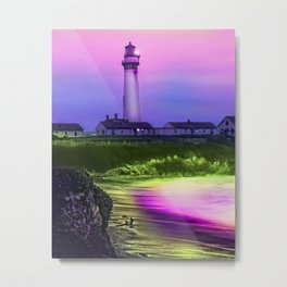 Light House Drizzle Metal Print