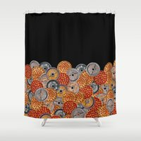 crossfit Shower Curtains featuring IRON&EMOTION PIZZA & PLATES  by IRON&EMOTION