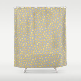 DOT PATTERN - gray and gold Shower Curtain