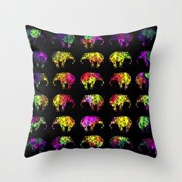 Rainbow Elephants Throw Pillow