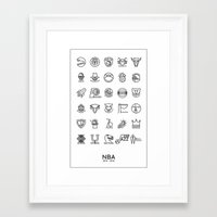 nba Framed Art Prints featuring NBA Team logos (black) by Will Wild