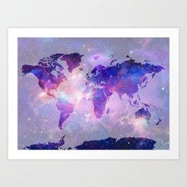 world map galaxy Art Print