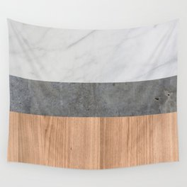 Carrara Marble, Concrete, and Teak Wood Abstract Wall Tapestry