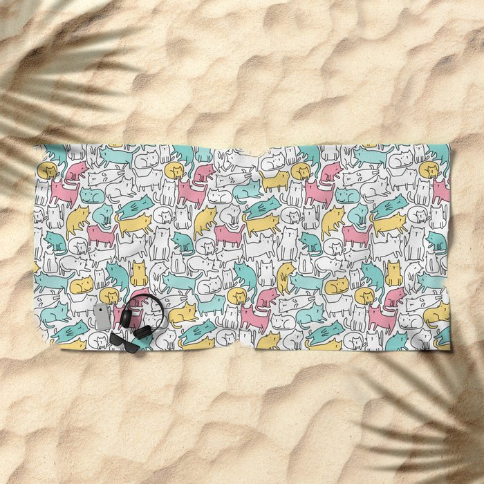 Cute kitties. Cats pattern. Beach Towel