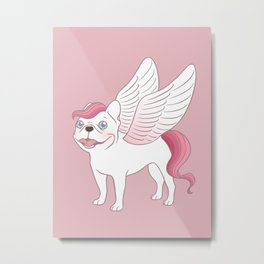 Frenchie Pegasus spreads its wings into the mythical world Metal Print