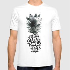 It's an Aloha Kind of Day White Mens Fitted Tee MEDIUM
