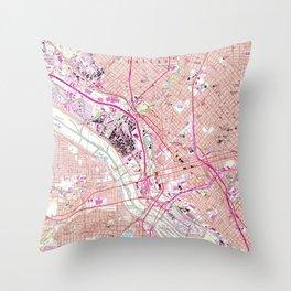 Vintage Map of Dallas Texas (1958) Throw Pillow