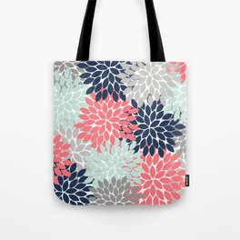 Flower Burst Petals Floral Pattern Navy Coral Mint Gray Tote Bag