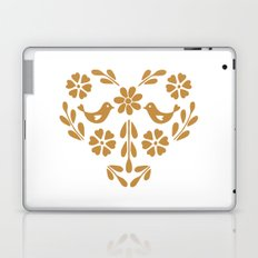 Golden heart shaped floral and bird Laptop & iPad Skin