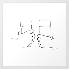 """ Kitchen Collection "" - Two Hands Holding Beer Glasses Art Print"