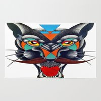 panther Area & Throw Rugs featuring panther by Ronan Holdsworth