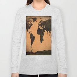 Grungy Abstract World Map Long Sleeve T-shirt