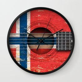 Old Vintage Acoustic Guitar with Norwegian Flag Wall Clock