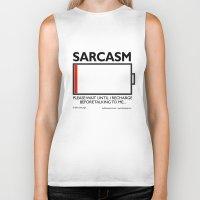 sarcasm Biker Tanks featuring sarcasm recharge by squirrelosophy