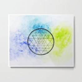 Sri Yantra Watercolor Metal Print
