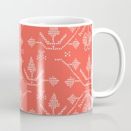 Folkloric Tree Embroidery Stitches Seamless Vector. Hand Drawn Cross Stitch Snowflake Coffee Mug