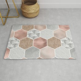 Gentle rose gold and marble hexagons Rug