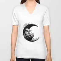 rockabilly V-neck T-shirts featuring Rockabilly moon by Kabay