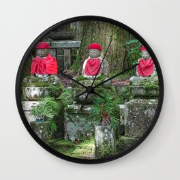 red hat red bib jizo on mount koya Wall Clock