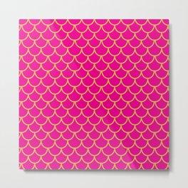 Mermaid Scales Pattern in Pink. Gold Scallops. Pink Metal Print