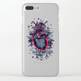 Gamer Heart BLUE CRIMSON / 3D render of mechanical heart Clear iPhone Case