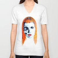 hayley williams V-neck T-shirts featuring Half Skull Half Hayley by anetambiel